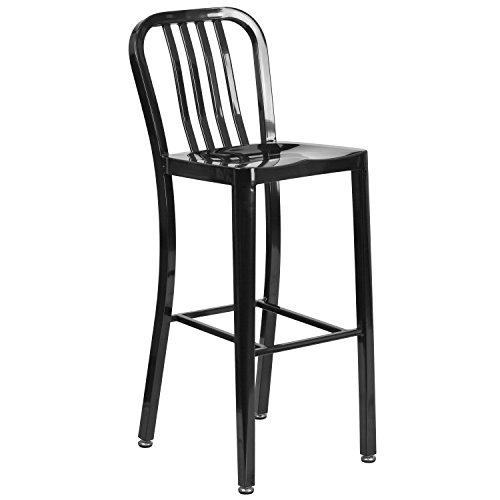 30'' High Black Metal Indoor-Outdoor Barstool with Vertical Slat Back