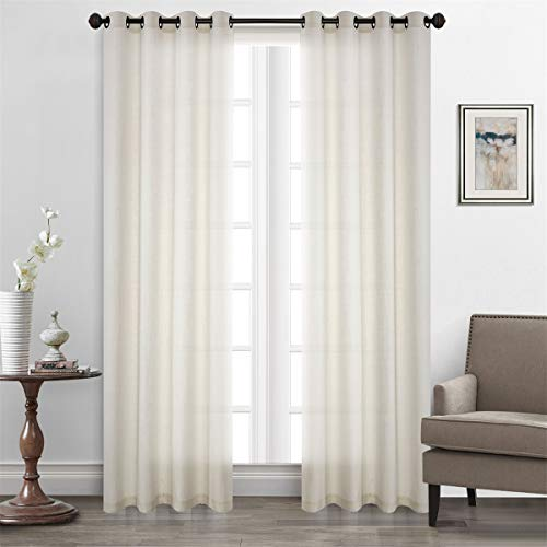 (Dreamig Casa Solid Faux Linen Room Darkening Curtains Grommet Top White Draperies (2 Panels, 52''W x 96''L))