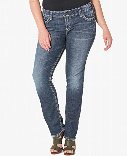 Silver Jeans Co. Women's Plus Size Suki Curvy Fit Mid Rise Straight Leg, Vintage Dark Wash with Lurex Stitch, 16x30