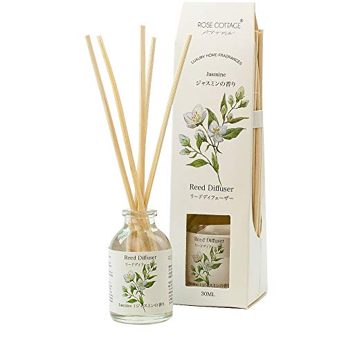 -  Rose Cottage Jasmine Reed Diffuser Set 30ml Scented Rattan Sticks Oil Diffuser Room Fragrance Aroma for Home and Office