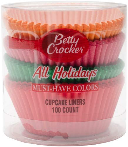 (Betty Crocker 100-Count Cupcake Liners All Holiday Orange, Pink, Green,)