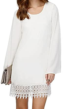 Fashion Style Chiffon Lace Hem Patchwork Mini Tunic Top Shift Dress S White