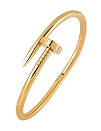 The Jewelbox Nail Gothic CZ Stainless Steel Rhodium Openable Cuff Kada Bangle Bracelet For Men