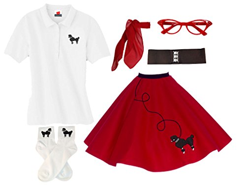 Hip Hop 50s Shop Adult 6 Piece Poodle Skirt Costume Set (Small, Red)