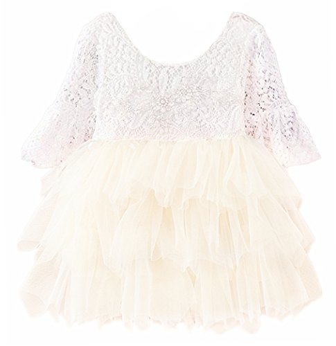 Price comparison product image 2Bunnies Baby Girl Beaded Lace Back Flower Girl Birthday Party Tutu Tulle Dress (Ivory 3/4 Sleeve, 4T/4-5Years)