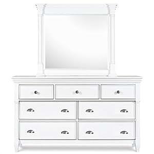 magnussen kasey 7 drawer dresser and mirror set in white kitchen dining. Black Bedroom Furniture Sets. Home Design Ideas