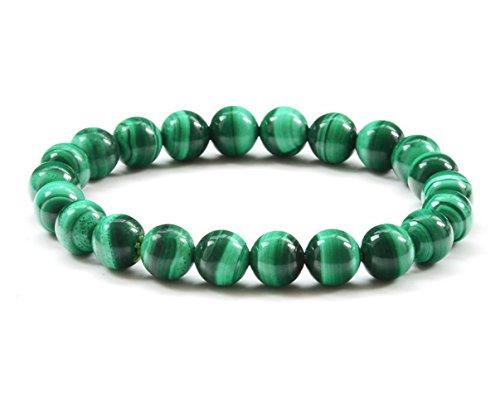 Onlineb2c Malachite Bracelet Gem Semi Precious Gemstone Round Beads Stretch Unisex Bracelet (12mm)