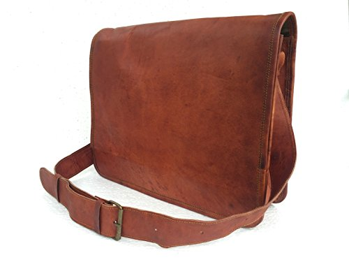 Full Flap Sling - Universal Leather Handmade Full Flap Leather Laptop Messenger Satchel Sling Bag 15X11X4 Inches Brown