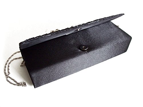 GFM Fashion - Cartera de mano de satén para mujer S Black - Vertical Diamante