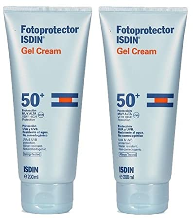 Amazon.com: PACK 2 x ISDIN FOTOPROTECTOR GEL CREAM SPF 50 + 200ml TOTAL 400ml MINESKIN TREATMENT: Beauty