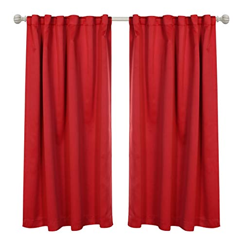 MYSKY HOME Thermal Insulated Back Tab and Rod Pocket Blackout Curtain Drapes for Kids Bedroom, 52 x 63 Inches, Red (2 Panel Set)