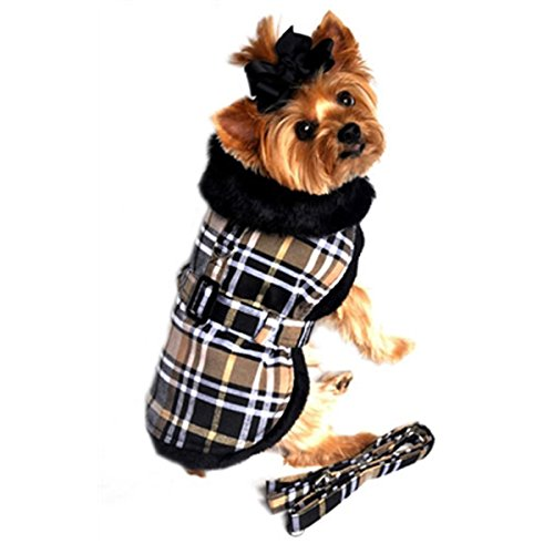 Doggie Design Brown Classic Plaid Wool/fur Collared Harness Coat W/leash Size Medium (Chest 16-19, Neck 13-16, Weight 11-15lbs.) For Sale