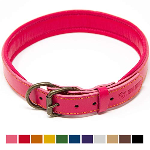 Logical Leather Padded Dog Collar - Best Full Grain Heavy Duty Genuine Leather Collar - Pink - Extra Large ()