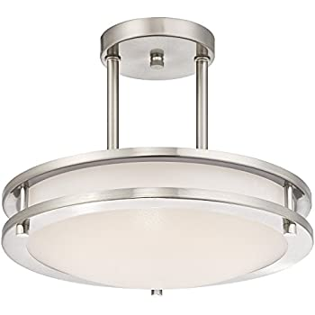 Light Blueu0026trade; LED Semi Flush Mount Ceiling Fixture, Antique Brushed  Nickel Finish, 3000K