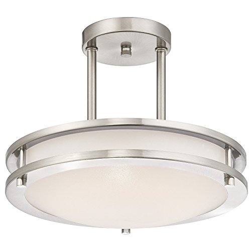 LB72130 LED Semi Flush Mount Ceiling Fixture, Antique Brushed Nickel Finish, 3000K Warm White, 1050 Lumens, Dimmable (Fixture Flush Mount Antique Ceiling)
