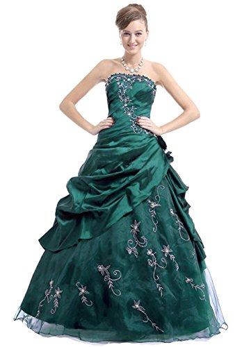 (Edaier Women's Strapless Formal Prom Dresses Size 6 Emerald)