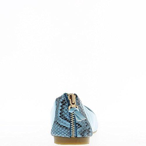 Blau lackiert mit goldener Reißverschluss ballerina