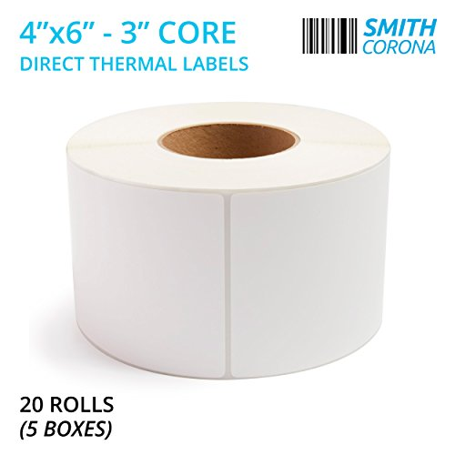Smith Corona - 20 Rolls, 4 x 6 Direct Thermal Labels, 3 Core, 20000 Labels Total, Made in the USA, For 3 Core Industrial Printers (20 Rolls)