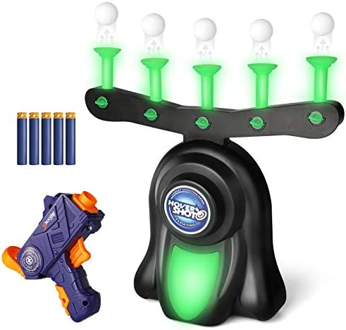 SWAGITLOUD SNAEN Shooting Target Game for Kids, Indoor Glow in The Dark Floating Target Shooting Game Toys, Includes Shooting Tool,10 Foam Dart and 10 Floating Ball Targets for Boys 6+