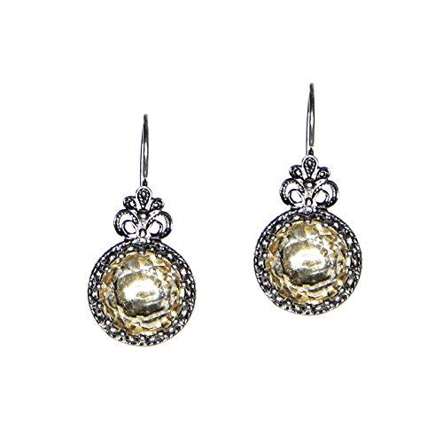 Sterling Silver Filigree Citrine Crown Earrings
