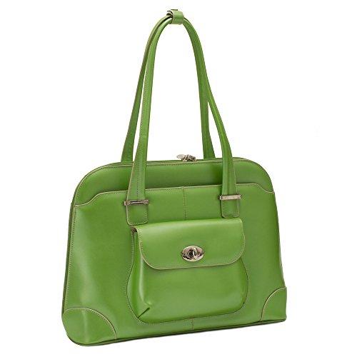 Women's Briefcase Tote, Leather, Small, Green - AVON | McKlein - 96651