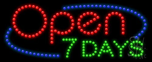 """Open 7 Days Animated Outdoor LED Sign 11"""" Tall x 27"""" Wide..."""