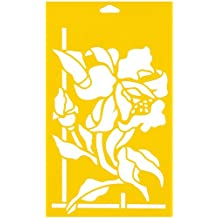 """12"""" x 7"""" (30cm x 17.5cm) Reusable Flexible Plastic Stencil for Cake Design Decorating Wall Home Furniture Fabric Canvas Decorations Airbrush Drawing Drafting Template - Wild Flowers Orchid Leaves"""