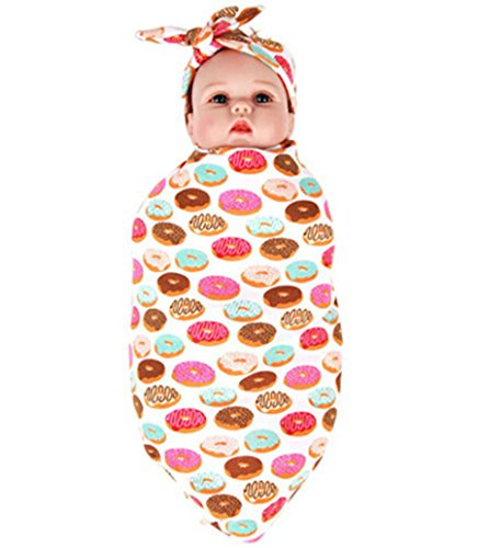 Emmababy BAB Swaddle Blanket Headband Set Unisex Toddler Nurseing Wrap Cover (9090cm, -