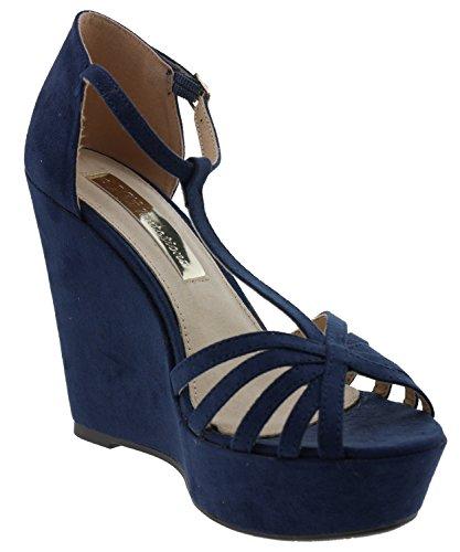 030105 Sandales Plateforme Navy Bleu Femme Navy Xti vTd5wqExv