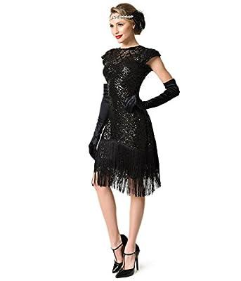 Unique Vintage 1920s Black Sequin Fringe Del Mar Flapper Dress