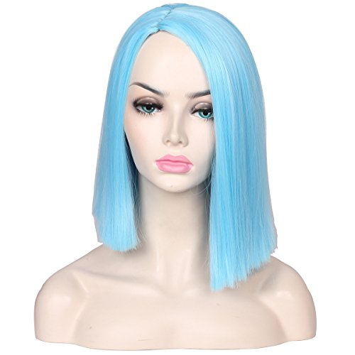 ColorGround Medium Long Straight Light Blue Part Splited Cosplay Wig for Women and Girls -