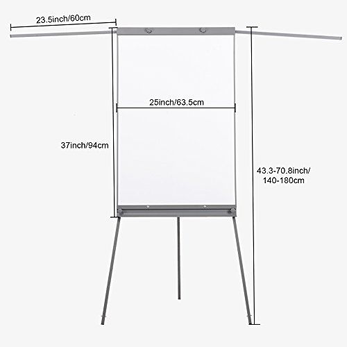 Swansea Adjustable Flipchart Easel Dry Erase Boards Magnetic Tripod Whiteboard 40X26 inches with 2 Side Arms by SwanSea (Image #3)