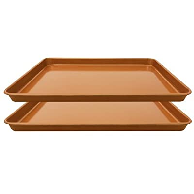 "Gotham Steel Non-Stick Copper Cookie Sheet Baking Pan - 17.6"" x 11.8"" x 1"" – 2 PACK"