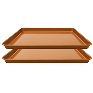 Gotham Steel Nonstick Copper Cookie Sheet and Jelly Roll Baking Pan 12  x 17  –  2 PACK