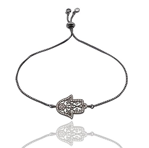 THINK POSITIVE Hamsa Hand with Rhinestones Charms Snake Chain 2 Gemstones Danglers Ball Clasp Adjustable Black (TPS329-BLACK) - Dangler Charm
