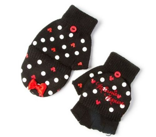 Minnie Mouse Convertible Gloves - Polka Dots & Minnie Mouse Silhouettes