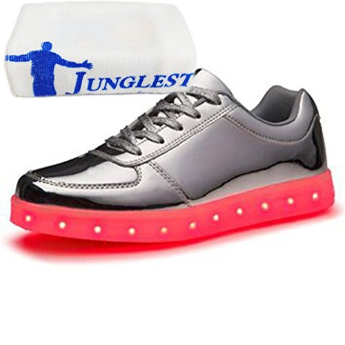 (Present:small towel)JUNGLEST® Womens Mens 7 Colors Light USB Charging LED Light-Up Sport Shoes Fl Silver Z1gxq