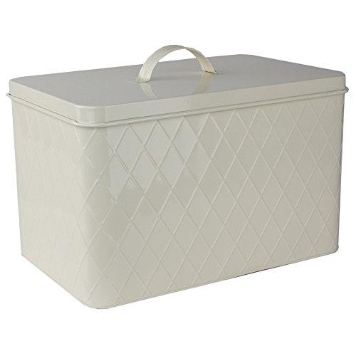 Home Basics CS47554 Trellis Tin, Ivory Bread Box, One Size,