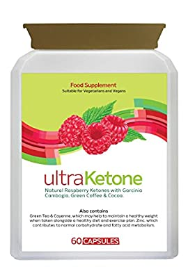 100% Pure Natural Ultra Raspberry Ketone - Weight Loss Pills - 60 Veggie Capsules - Chlorogenic Acid - Green Coffee - Phenolic Enzyme - Garcinia Cambogia – Cocoa - Green Tea Extract