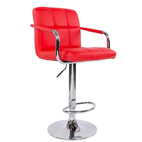 Bedroom Square Bar Stool - YXDDG Adjustable Bar Stools Swivel Barstools Modern Square PU Leather, Set of 1 Suitable for Bars, Bedrooms, Offices, Kitchens, Counters,red