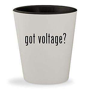 got voltage? - White Outer & Black Inner Ceramic 1.5oz Shot Glass