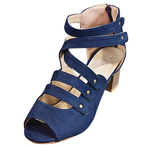 Duseedik Women's High Heel Sandals Ladies Zipper Summer Ankle Square Heel Breathable Peep Toe Outdoor Shoes Blue ()