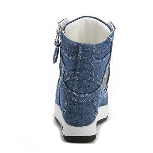 L@YC Frauen-Fisch-Fr¨¹hlings-Sommer-Sandelholz-Keil-Schnitt-seitliche Rei?verschluss-Segeltuch-flache Sandelholze wei?es Blau Blue