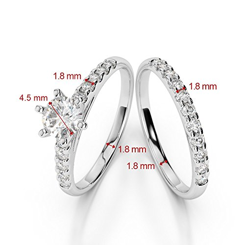G-H/VS 1/2 ct Coupe ronde sertie de diamants Saphir et diamants blancs et bague de fiançailles en platine 950 Agdr-1153