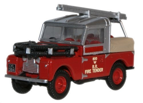 Tender Diecast (Oxford Diecast Britsh Rail Land Rover Fire Tender - 1/76 OO Scale Diecast Model by Oxford Diecast)