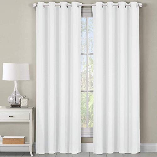 Luxor Top Grommet Panels, Heavyweight 100% Cotton Window Treatment Curtains, Solid White, Set of 2 / Pair, 54Wx84L inches each