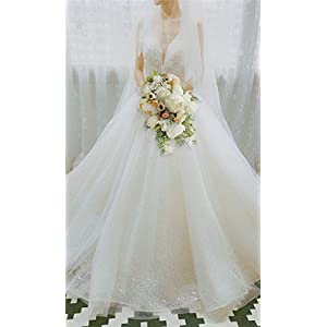 U'Artlines Bridal Wedding Bouquet Romantic Handmade Artificial Peony Roses Pearl for Wedding Party Home Decoration 8