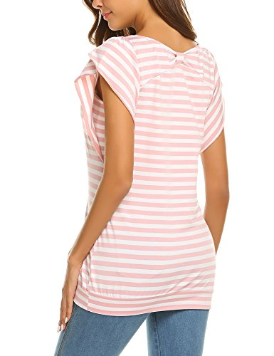 Hersife Womens Stripy Top Short Sleeve Tunics Striped Banded Bottom Shirts Pink by Hersife (Image #5)