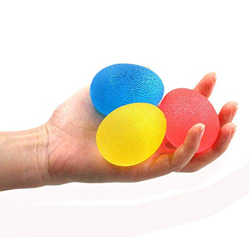 Dushi 3 Pack Fidgets Stress Relief Ball Hand Stress Balls Exercise Squeeze Eggs-Shape Hand Finger and Grip Strengthening Therapy Ball