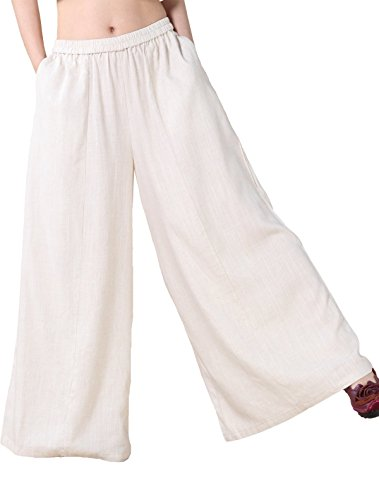 Mordenmiss Women's Linen Wide Leg Elastic Waistband Pants with Pockets Large Beige (Plus Size Linen Cropped Pants)